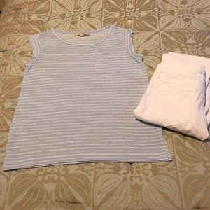 LOFT blue and white striped pocket tee XS
